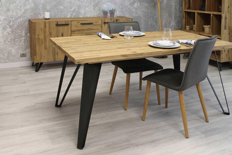 Mesa de comedor estilo industrial d 1 naturmueble for Mesa de comedor de estilo industrial